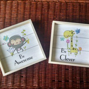 Two Cute Children's Shadow Box Framed Pictures